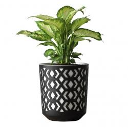 """""""Aztek"""" bicolour round plant pot - 25 cm - black with a white insert"""