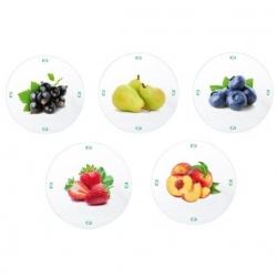 Lecsavarható üvegedények (6 füles) - gyümölcs fehér alapon - Ø 82 mm -
