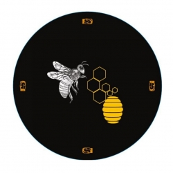 Csavarható edényfedelek (6 füles) - méh fekete alapon - Ø 82 mm -