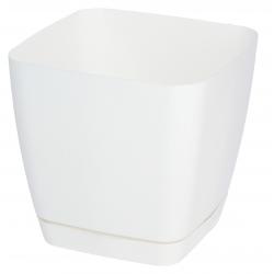 """Toscana"" square plant pot with a saucer - 19 cm - white"