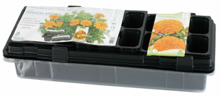 Black 47 x 15 cm mini greenhouse with 18 pots + one FREE