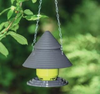 Bird feeder - hanged on a chain, bird table - pistachio-green  + anthracite grey
