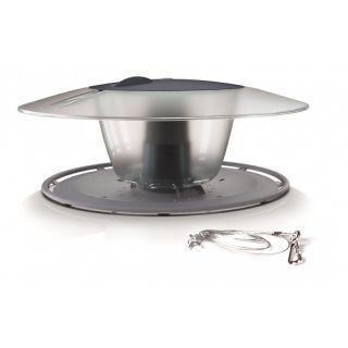 Pole mounted bird table / feeding tray Birdyfeed Round - stone-grey