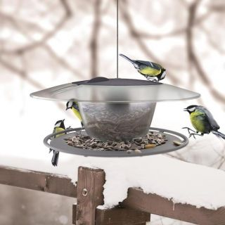 Pole mounted bird table / feeding tray Birdyfeed Round - anthracite-grey